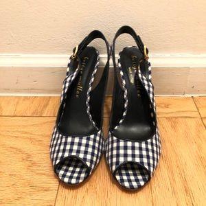 Black/white checkered peep toe sling backs!!